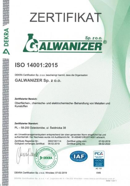 Zertifikat ISO 14001:2015 DE